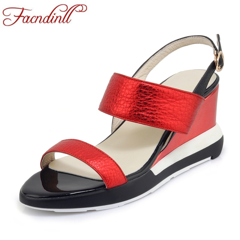 FACNDINLL genuine leather high qulaity new women summer sandals women wedges platform sandals ladies patchwork casual date shoes facndinll new women summer sandals 2018 ladies summer wedges high heel fashion casual leather sandals platform date party shoes