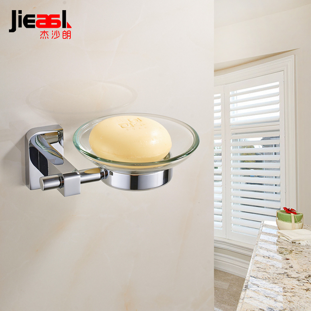 Jieshalang Br Gl Soap Dish Shelf Bathroom Holder Shower Tray Accessories
