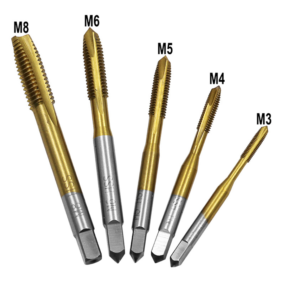 High Speed Steel Screw Tip M3-M8 Titanium Coated HSS Metric Straight Flute Thread Screw Tap Plug Tap