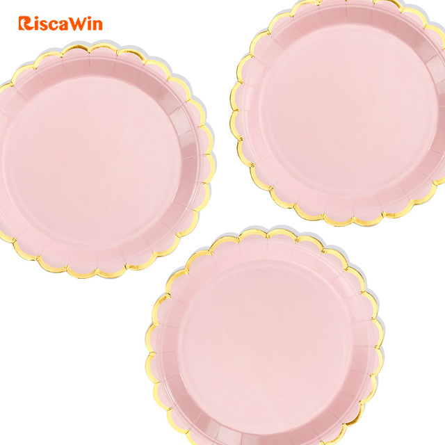 Riscawin 10pc 7inch Macaron Pink Birthday Wedding Party Supplies Decoration Cake Dish Disposable Paper Plates Baby
