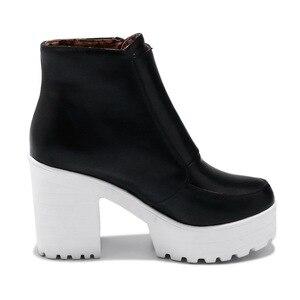 Image 5 - Botas femininas com plataforma preta e branca, calçados de salto alto com zíper, para outono e inverno, 2019, dropshipping