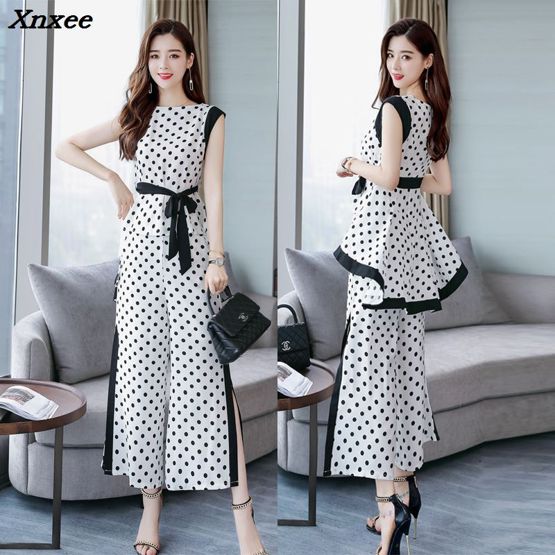Polka Dot Two Piece Set Top And Pants Sleeveless Palazzo Pants Ensemble Femme Deux Pieces  Wide Leg Conjunto Feminino Woman Suit-in Women's Sets from Women's Clothing    1