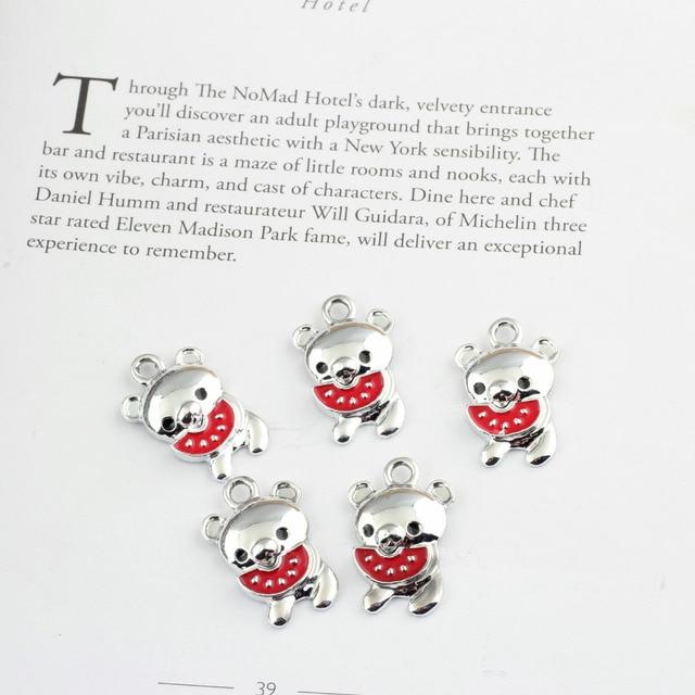 Toptan 40 Adet 23*15 MM Gümüş Renk Kaplama Alaşım Kawaii Hayvan Bear Kolye Charms DIY Takı Bilezik Kolye Charm Craft