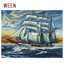 WEEN Dusk Ocean Diy Painting By Numbers Abstract Sea Wave Oil On Canvas Sail Boat Cuadros Decoracion Acrylic Home Decor