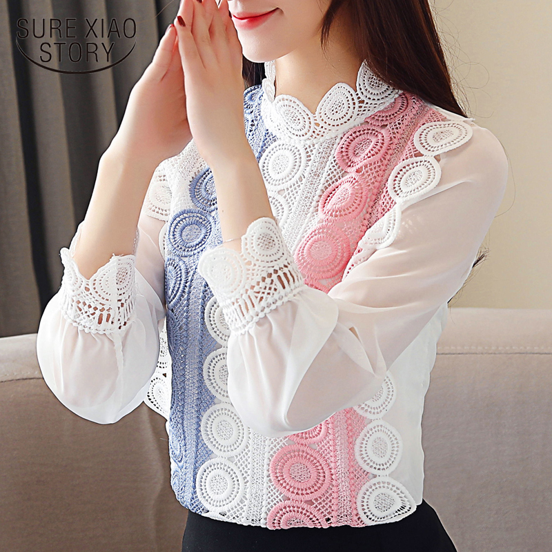Fashion spring 2019 white   blouse   womens tops and   blouses   hollow lace chiffon   blouse     shirt   long sleeve women   shirts   blusa 2475 50