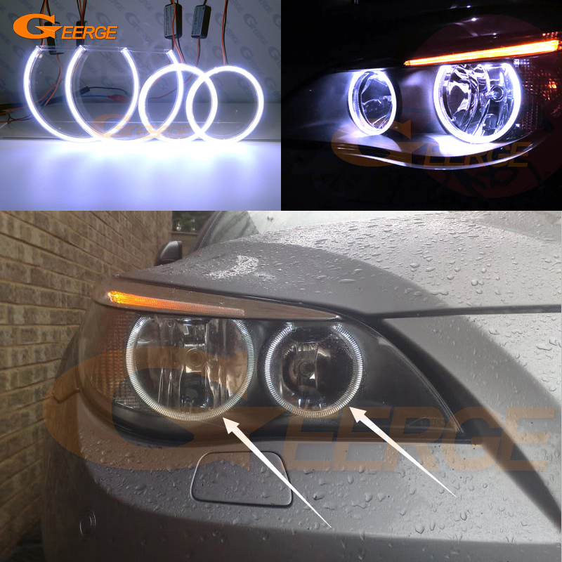 For BMW E60 E61 520i 525I 530I 540I 545I 550I M5 2003-2007 Halogen headlight Ultra bright illumination COB led angel eyes kit for bmw 5 series e60 m5 e61 car front headlamp housing clear lens shell cover for bmw 525i 530i 528i 535i 540i 550i 545i n001