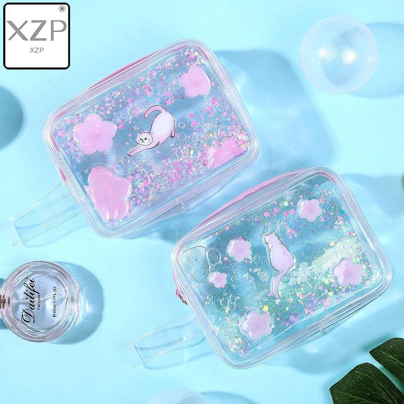 XZP PVC Cartoon Cat Travel Makeup Bag Creative Girl Quicksand Oil Large Capacity Storage Cosmetic Bag Transparent Pencil Case