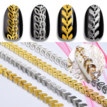 1Pack Gold Silver Metal Nail Art Chains Leaf Aircraft Design 3d Decorations Hollow Leaves Studs Rivet Manicure Accessories