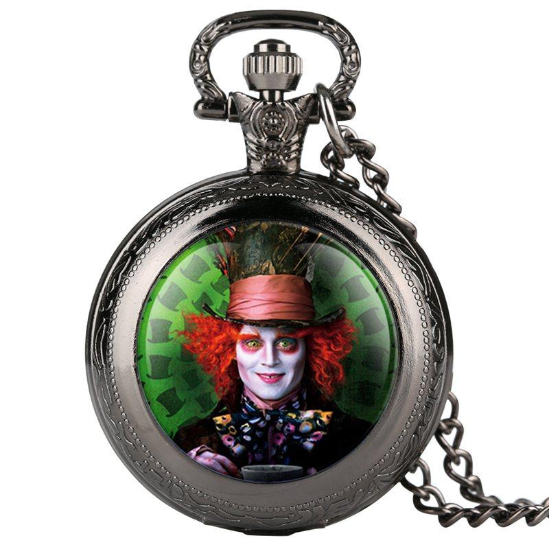 Alice in Wonderland Mad Hatter Rabbit Drink Me Tag Quartz Pocket Watch Dark Brown Glass Necklace Pendant Gifts for Women Girls 2019 2020 2021 2022 (10)