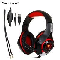 Moonliness 3.5mm słuchawki Słuchawki Gaming Headset Słuchawki Do Gier Xbox Jeden Zestaw Słuchawkowy z mikrofonem do pc playstation 4 laptop telefon