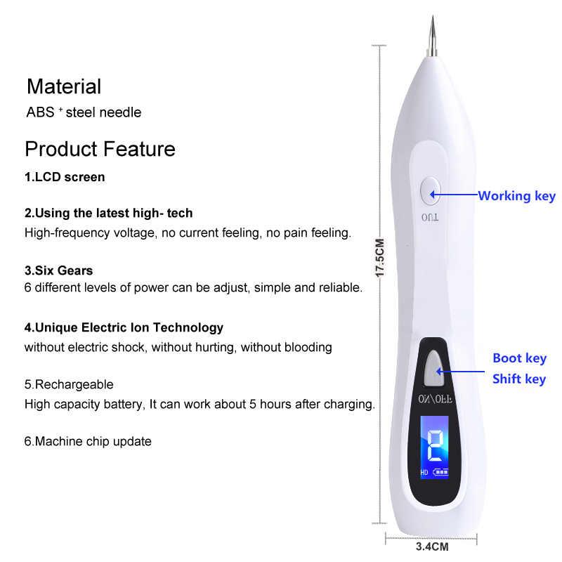 9 seviye LCD Yüz plazma kalemi 1800mAh Cilt etiketi kaldırma Dövme kaldırma Çil Karanlık Nokta Sökücü Lazer Köstebek Kaldırma Makinesi bakım
