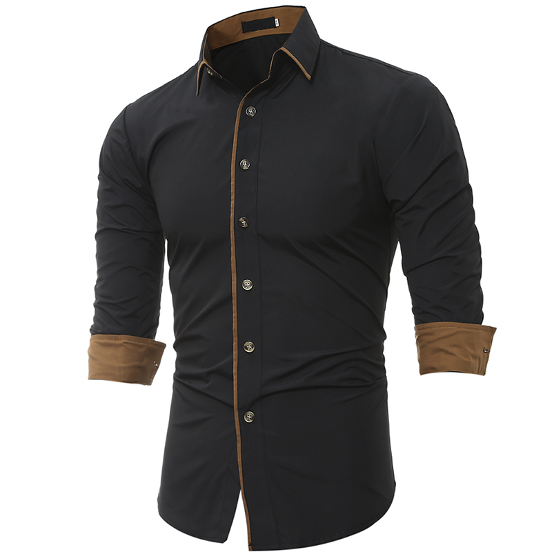 Men Shirt Brand 2017 Male High Quality Long Sleeve Shirt Casual Solid Color Slim Fit Black