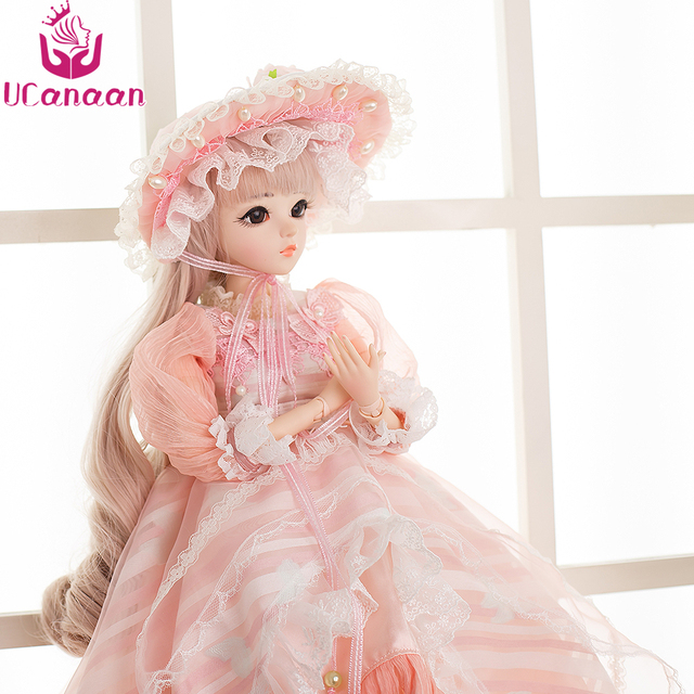UCanaan 60CM BJD Dolls New Arrival SD Dolls With Outfit Elegant Dress Wigs Shose Hat Makeup Beautiful Dream Girls Toys KD Dolls 2