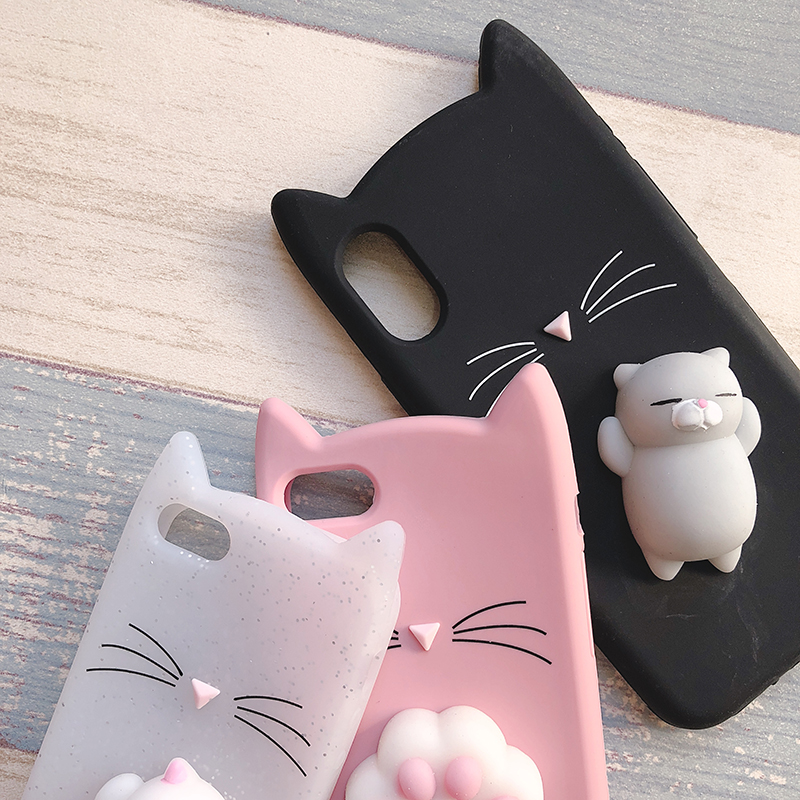 3D Cute Japan Glitter Bearded Cat Case For iphone 5 5S SE X Squishy Cat Cases For iphone 7 8 6 6S Plus Silicone Mobile Phone Bag (18)