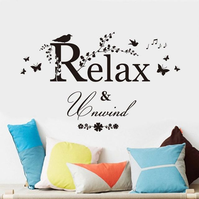 relax and unwind vinyl wall sticker butterfly bathroom bedroom quotes decor
