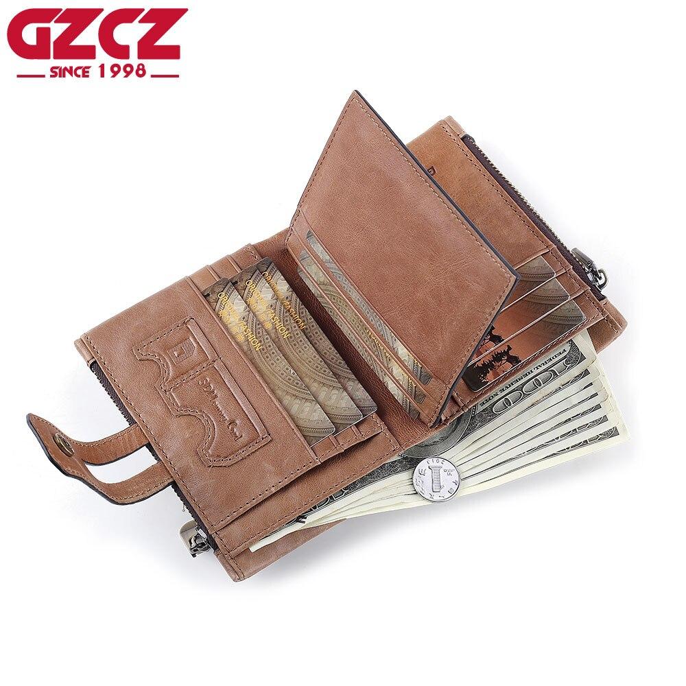 7a3e7661034b GZCZ Genuine Leather Men Wallets coin purse Fashion Crazy Horse Zipper  Design Male Walet Money Bag Portomonee slim Vallet RFID