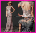 2015 New Arrival Elegant Mother of The Bride Lace Dresses High Neck Cap Sleeve Backless Long Formal Godmother Gowns LO175
