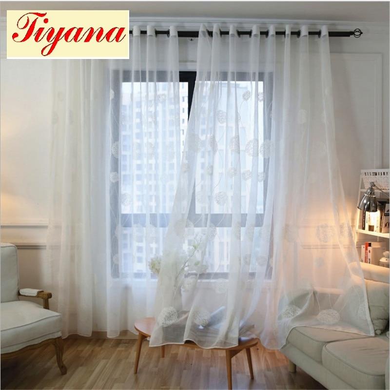 blanco moderno de lujo cenefa cortina bordada cordn de la gasa de tul para la decoracin