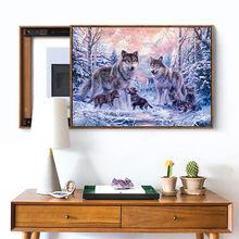 Meian Cross Stitch Embroidery Kits 14CT Wofl Animal Snow Cotton Thread Painting DIY Needlework DMC New Year Home Decor VS-0037