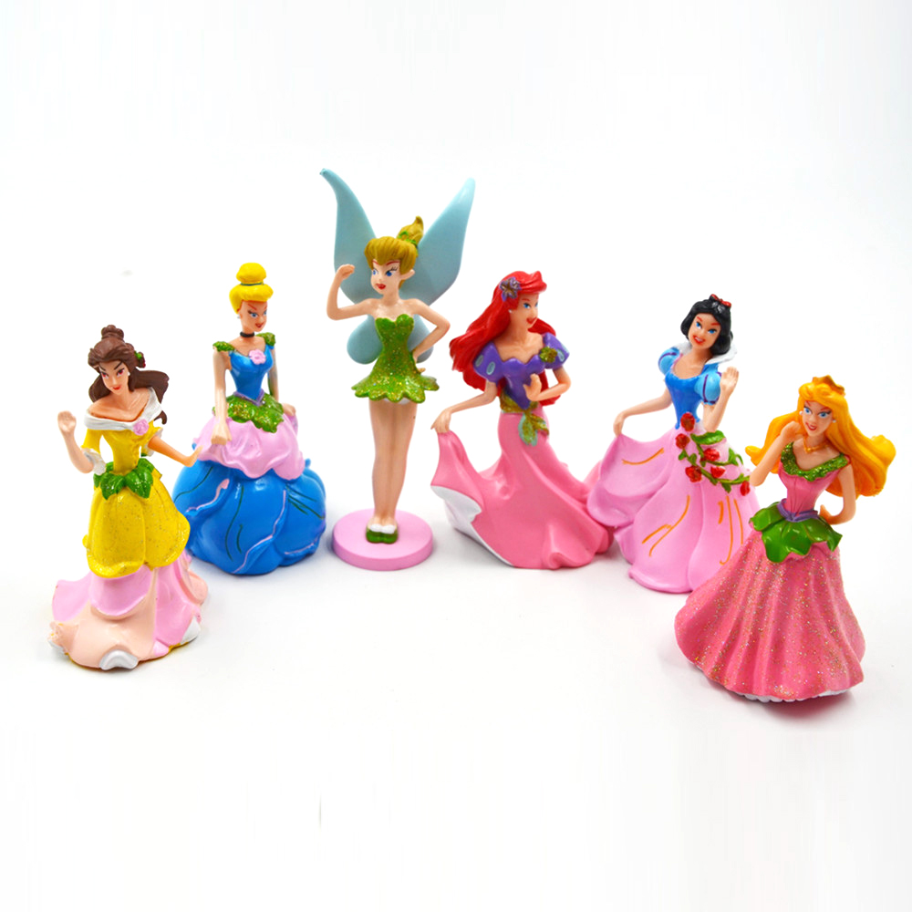 Disney Princess 6 pcs Hot Kids Toys Cute Cartoon Snow White Princess Dolls Action Figures Toys Anime Juguetes Brinquedos Ty866 6pcs set disney trolls dolls action figures toys popular anime cartoon the good luck trolls dolls pvc toys for children gift