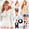 Super bonito blusa Doce camisa Japão estilo preppy Plissado das mulheres gravata borboleta blusa gola peter pan Fino camisa chiffon lolita blusa