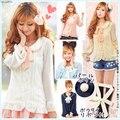 Super cute blouse Sweet women's shirt Japan preppy style Ruffle bow tie peter pan collar blouse Slim chiffon shirt lolita blouse