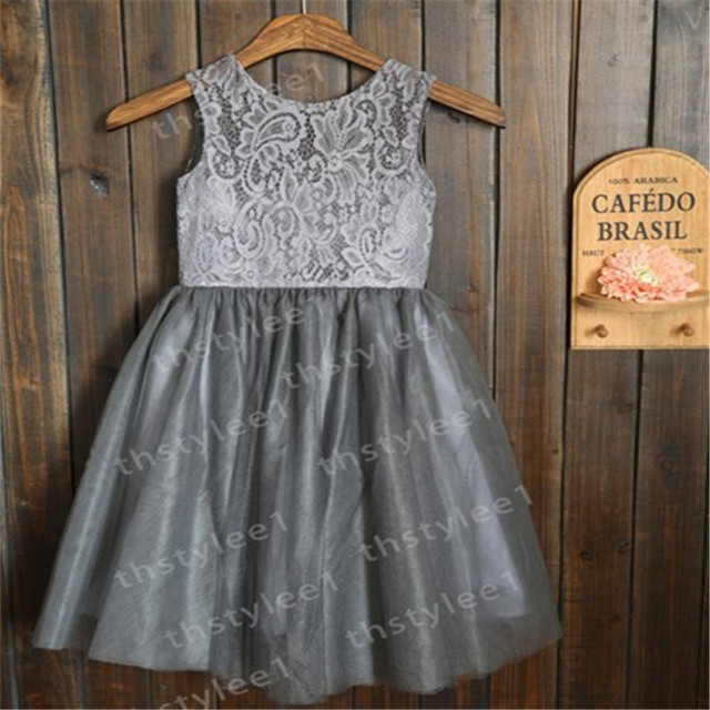 Aliexpress.com : Buy Grey Tulle Flower Girl Dresses with White ...