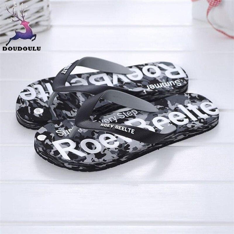 Летний Для мужчин Камуфляжная обувь Сандалии для девочек Мужской тапочки помещении или на открытом воздухе Сланцы Повседневное мужская пляжная обувь Размер 40-44 - Цвет: Черный
