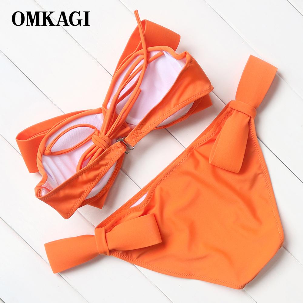 Hot Solid Swimwear Women Red Bikini 16 Sexy Big Bow Bikini Set Swimsuit Bathing Suit Push Up Brazilian Biquini Maillot De Bain 7