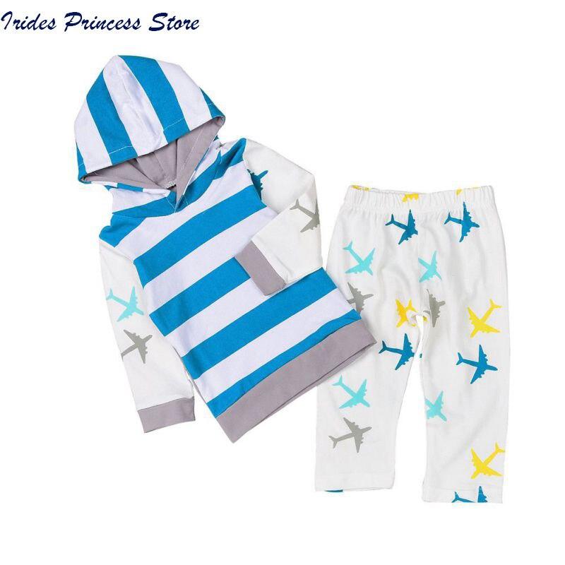 Newborn Baby Boy Clothes Girl Clothes Sets Tops T-shirt Pants Long Sleeve Cotton Blue 2Pcs Outfits Baby Boys Set