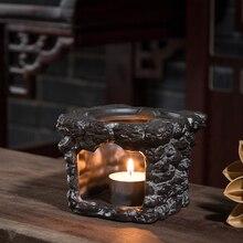 Vintage Teapot Holder Ceramic Black Pottery Base Warm Tea Stove Chinese Kung Fu Tea Set Accessories Candles Heating Tea Shelf
