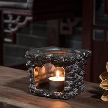 Soporte de tetera Vintage cerámica negra Base de cerámica té caliente estufa kungfú chino accesorios de juego de té velas calentador estante para té