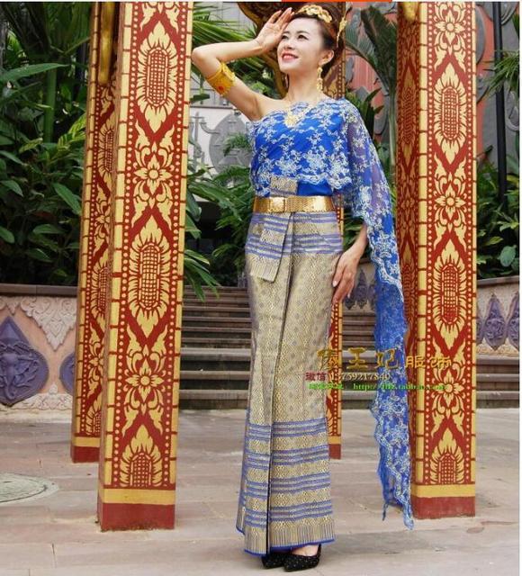 Hohe Qualität Thailand traditionelle kleidung Blau brautkleider ...