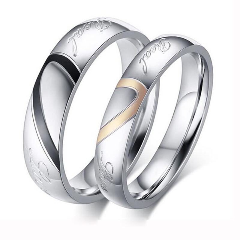 Factory Price Silver Color Couple Ring Quality Stainless Steel ...