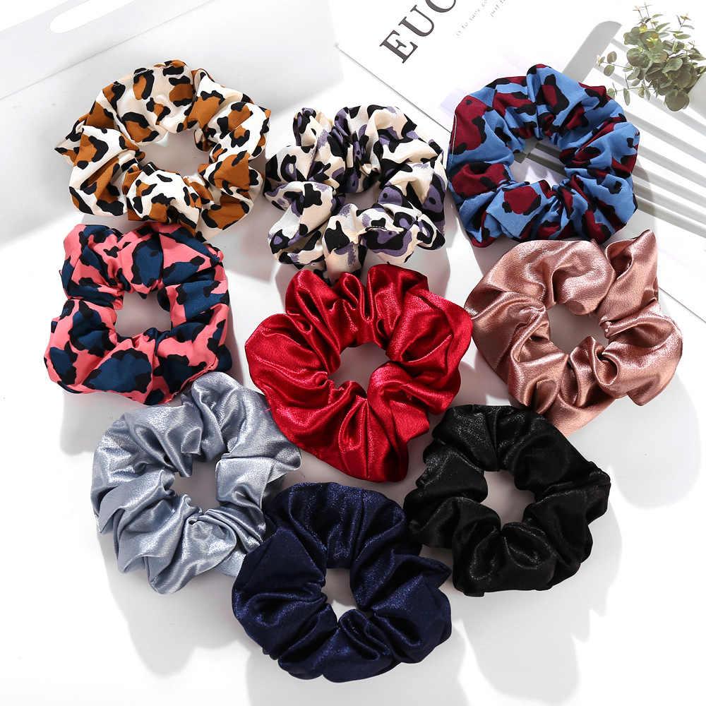 Donarsei proste satynowe elastyczne gumki do włosów dla kobiet dziewczynki Leopard gumki do włosów kwiatowy Print oświadczenie biżuteria do włosów nakrycia głowy