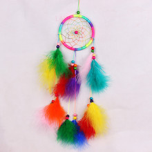 1pc Fashion FAIRY Feather Dream catcher handmade Wind Chime Indian Style pearl Pendant hanging ROOM decoration