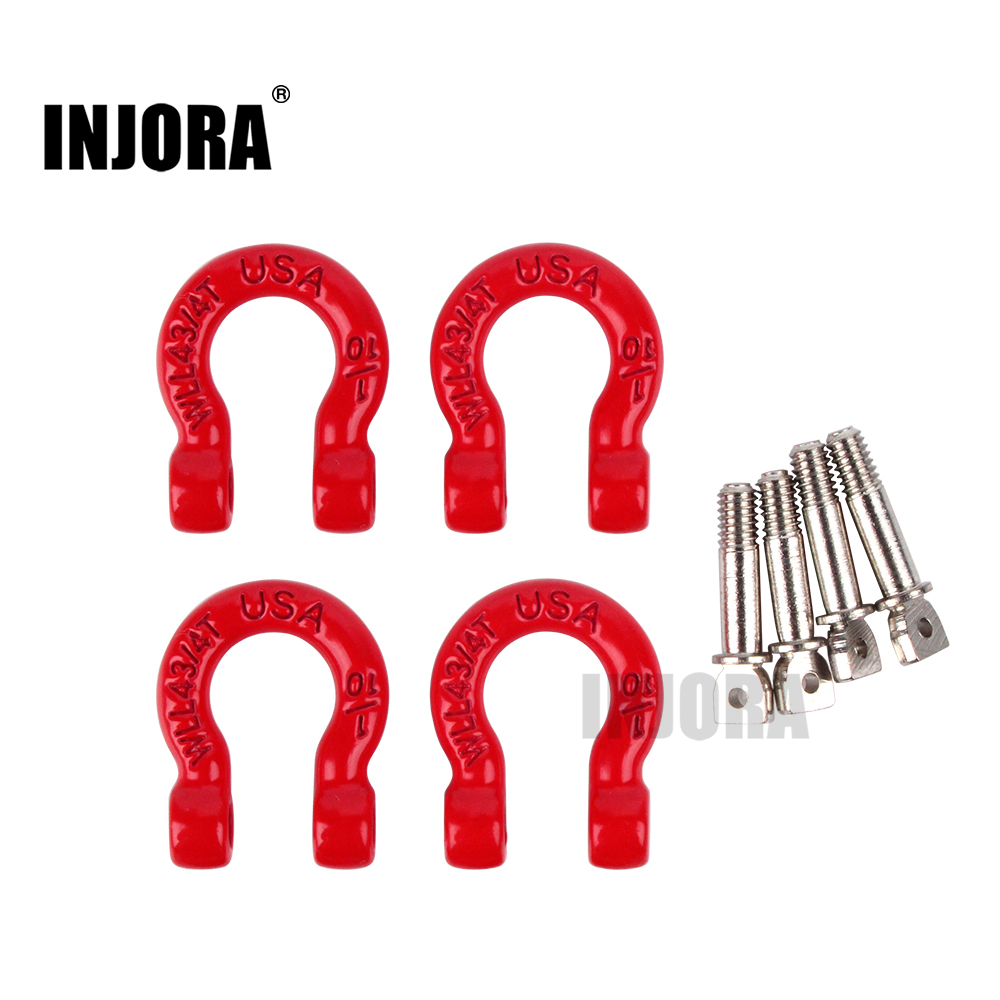 INJORA 4Pcs Red Metal Bumper D-ring Tow Hook For 1/10 RC Crawler Car Traxxas TRX-4 Axial SCX10 90046 D90