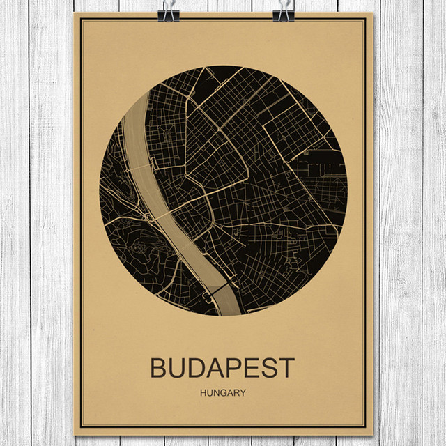 BUDAPEST World City Map Classic Vintage Poster Kraft Paper Poster - Vintage budapest map