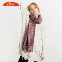FRALU Warm Winter Scarf Women Shawl Fashion font b Tartan b font Cashmere Scarf Luxury Brand