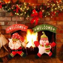 Xmas Hanging Decoration Santa Claus Snowman Tree Door Ornament Decor Hanging Pendant Christmas Decoration Supplies
