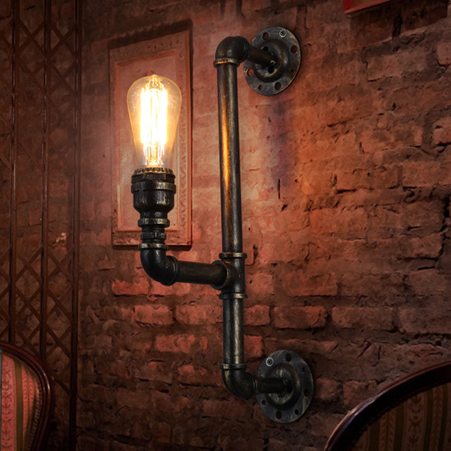 Metal Wall Sconces Retro Water Pipes Type E26/E27 Bulb Base Industrial  Bathroom Stair Antique