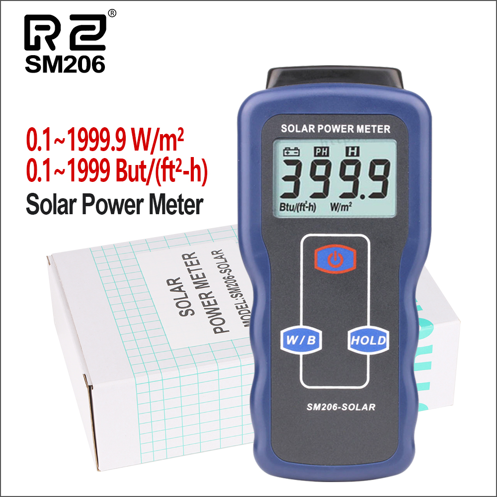 RZ Solar Power Meters Light Meter Mini Solar Lipo Charger Board Solar Radiation Tester 0.1-1999.9 Solar Lux Power Meter SM206