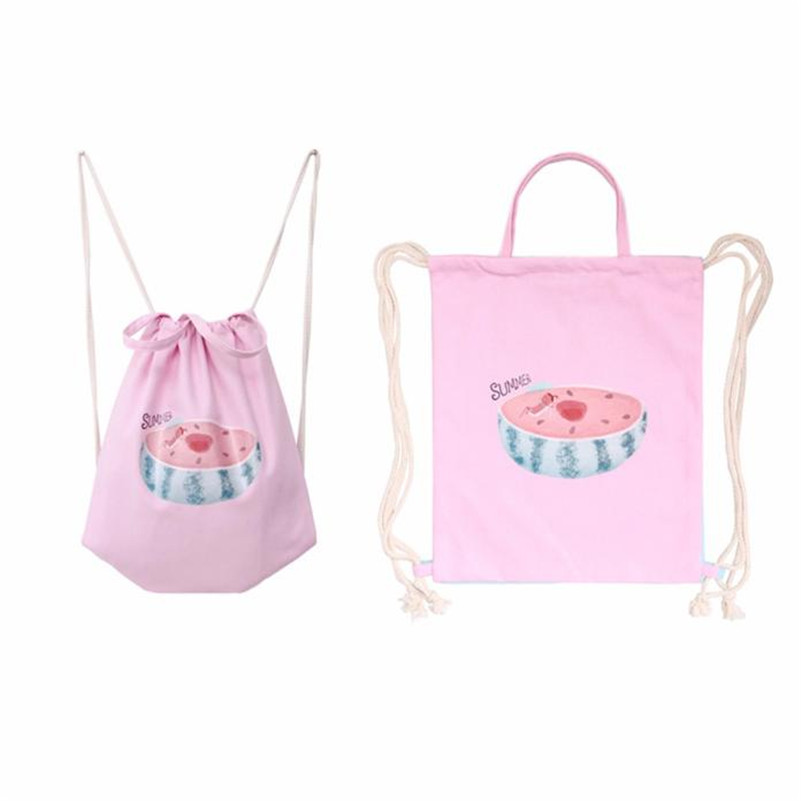 2017 New Fashion Women Cat Drawstring Beam Port Backpack Shopping Bag Travel s Bags Schoolbag For Teenage Girls