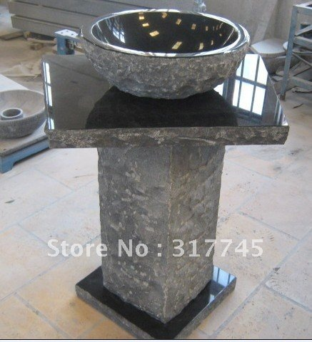 Natural Black Granite Stone Pedestal Sinks For Your Bathroom, Yard, Or  Anywhere, Unique
