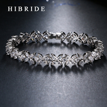 HIBRIDE JEWELRY Brand New Design AAA Cubic Zircon Wedding Bracelets,White/Rose Gold Color Bangles&Bracelets, B-36