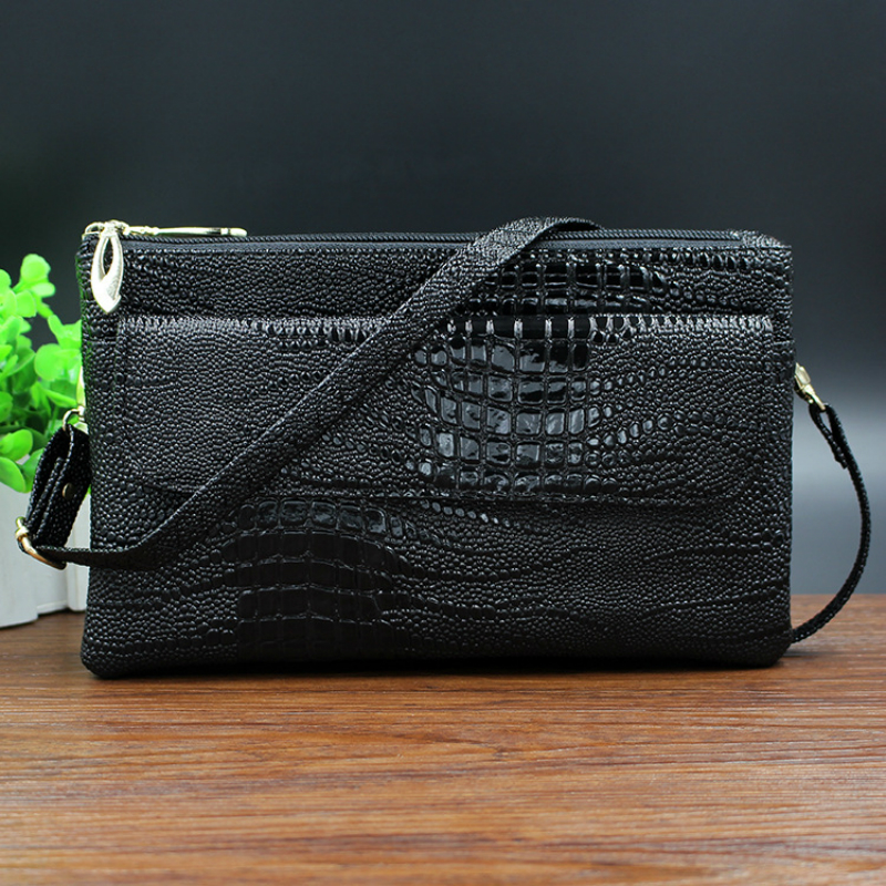 New woman hasp lock crocodile pattern crossbody messenger bag casual women small mobile phone double zipper
