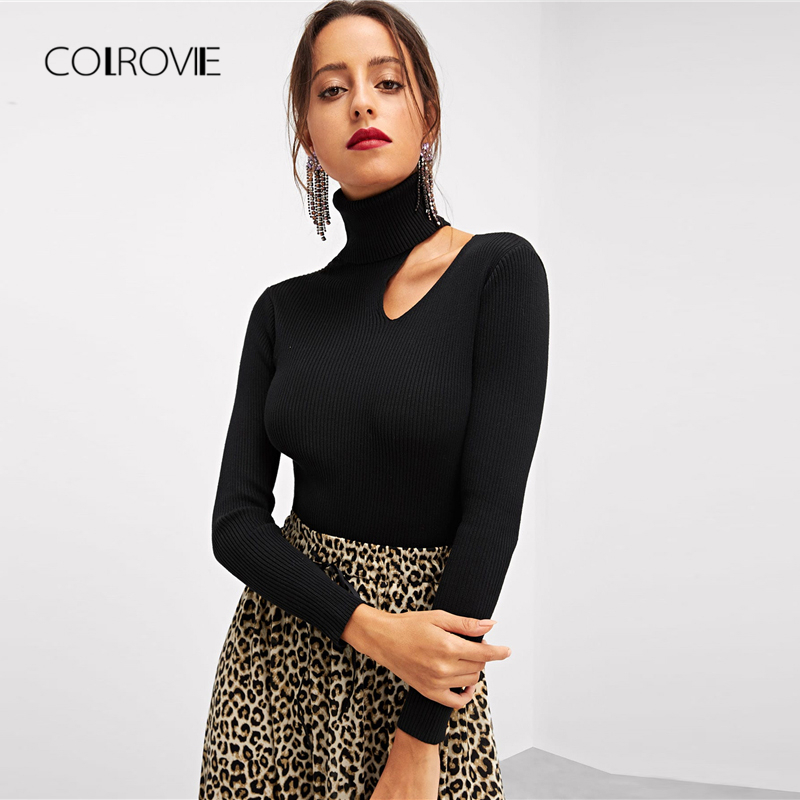COLROVIE Black Solid Rolled Neck Asymmetric Cut Out Elegant Winter Sweater Pullover Women Clothes Autumn Knitwear Ladies Jumper