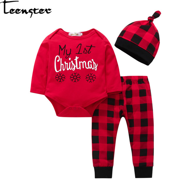 86f5a650c8e5 Teenster Baby Girl Boy Clothes Carters Newborn Clothing Autumn Long Sleeve  Bodysuit&plaid Pants&hat Letter Christmas Printed