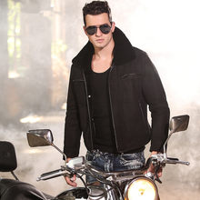 Real genuine leather jackets for men's turn-down collars natural sheepskin fur coat for male Locomotive style free shipping(China)