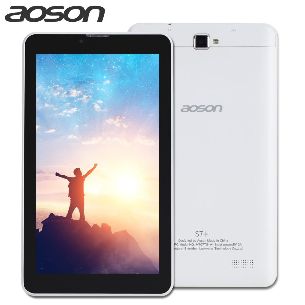Новинка! aoson S7 + 7 дюймов 3g sim-карты Телефонный звонок планшетных ПК 4 ядра Android 7,0 Планшеты 16 ГБ PAD двойной Камера gps WI-FI Bluetooth ips